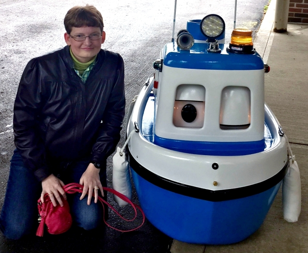 Me and the talking robot boat.